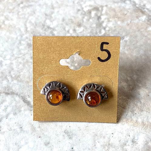 Amber/ half mooned stud earrings