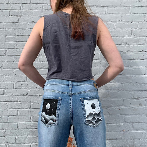 Ying Yang Mountain Painting on Jag Jeans