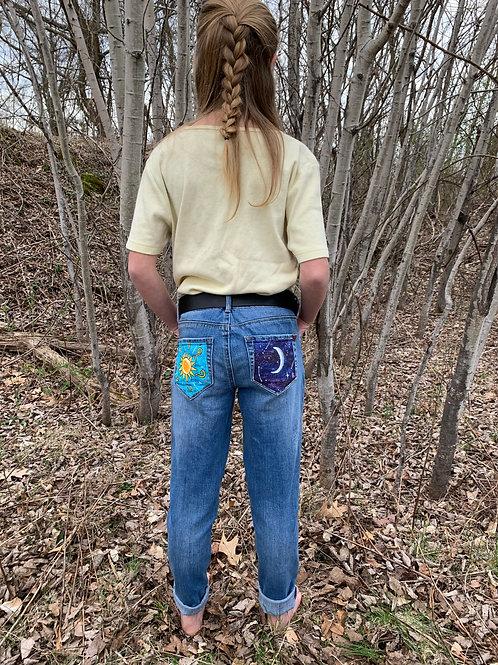 Sun and Moon painting on Bullhead Jeans