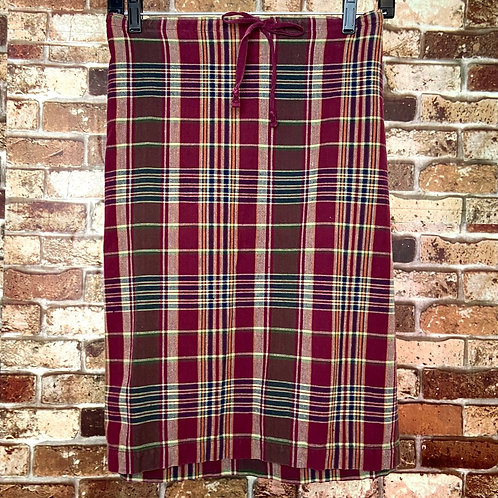 White stag maroon multi color plaid with tie