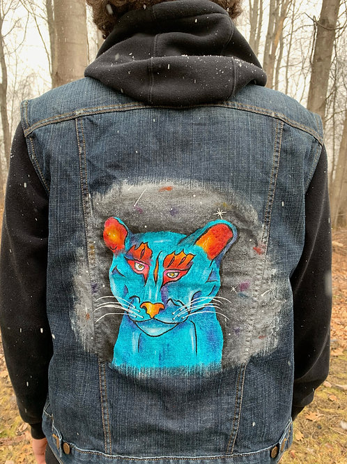 Blue Cougar Painting on Men's Levi Vest