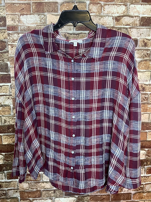 Lucky Brand maroon  flannel button up
