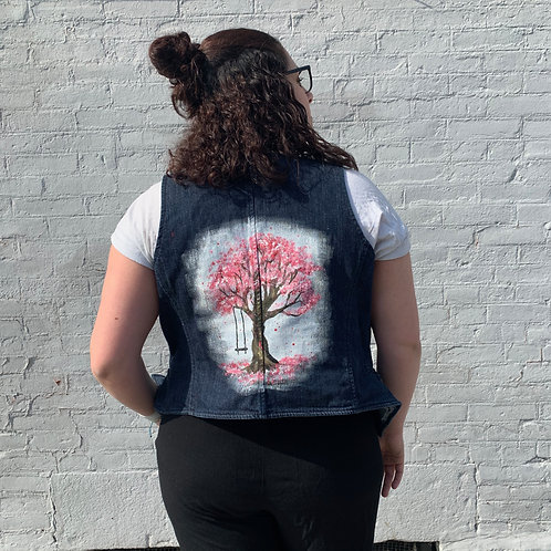 Cherry Blossom Tree Painting on NY&Co Denim Vest