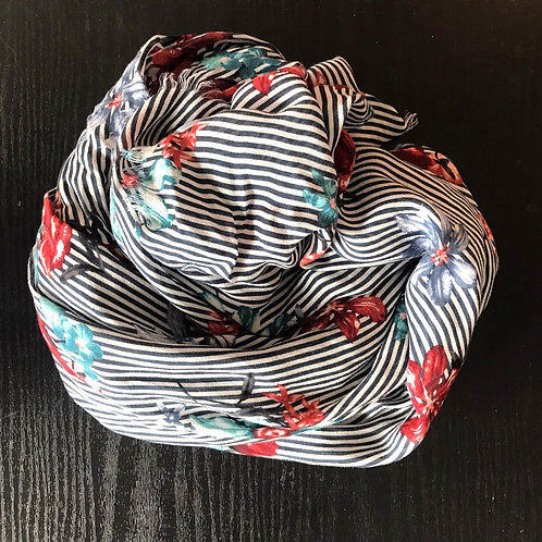 Stripe & Floral Scarf