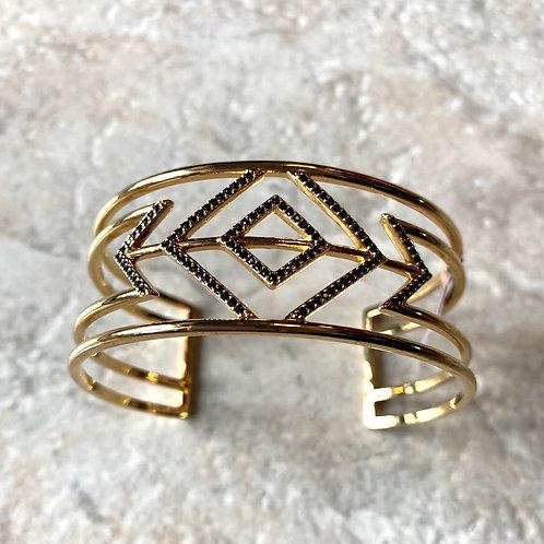 Gold and black stone cuff bracelet