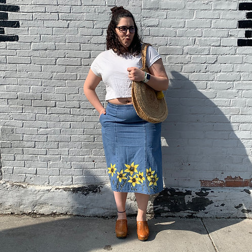 Sunflower painting on Vermont Country Store Jean Skirt