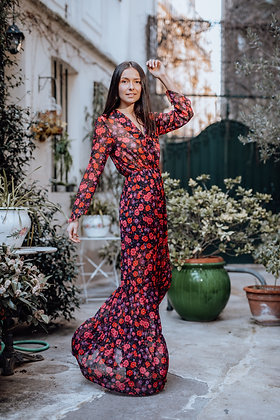 Robe Ana Fleurs Rouge
