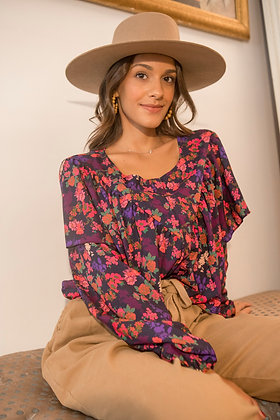 Blouse Mira Violet/Red