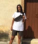 GOAT TEE LEFKO weiß t-shirt tshirt handgemacht limitiert frau schwarze haare griechenland greta bullet bag pants böse gefühle emotion
