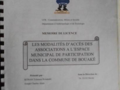 Les modalités d'accès des associations à l'espace municipal de participation à Bouaké.