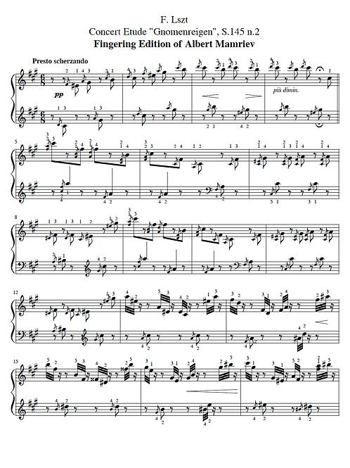 "F. Liszt. Concert Etude ""Gnomenreigen"""