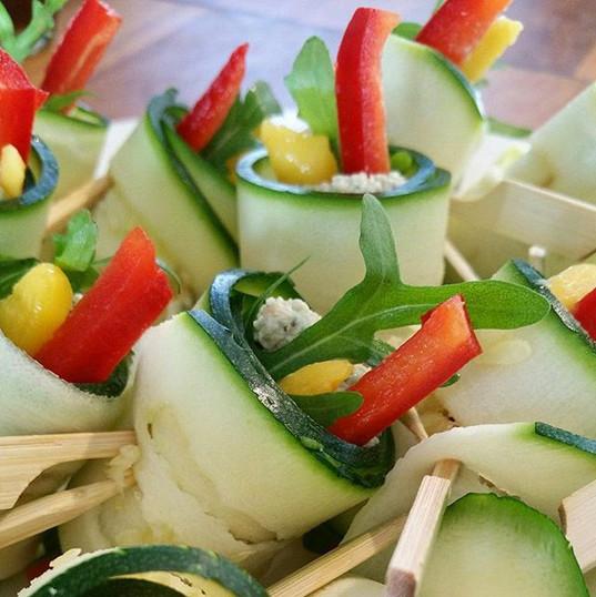 Squash ruller med solsikkefrø paté