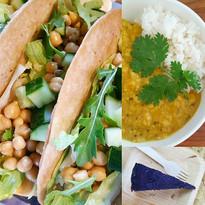 Kikert taco, linsegryte, rå blåbærkake