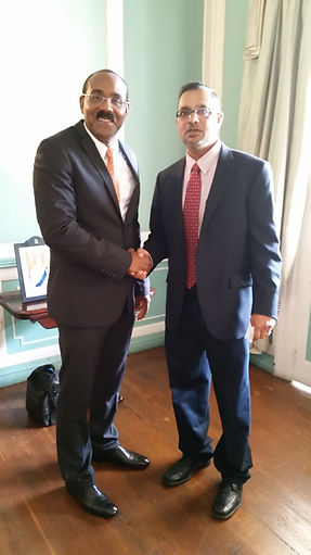 Prime Minister of Antigua & Barbuda, Hon. Gaston Browne, and Romell Tiwari