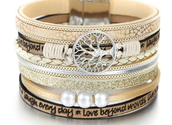 ALLYES Tree of Life Charm Pearl Leather Bracelets For Women