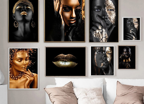African Art Black and Gold Woman With Necklace on Canvas Painting