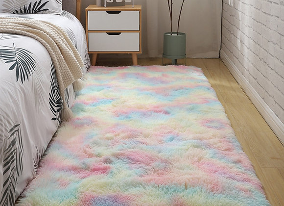 Modern Colorful Tie Dye Shaggy  Bedside Carpet for Bed Room Living Room