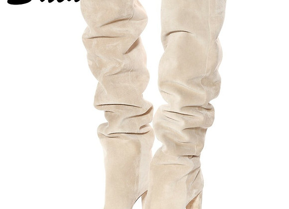 2021 Women Suede Over the Knee High Slouchy Boots Pointy Toe