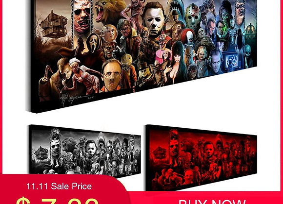 Home Decor Fashion Poster Terror Canvas Printing Horror Movie Wall Posters