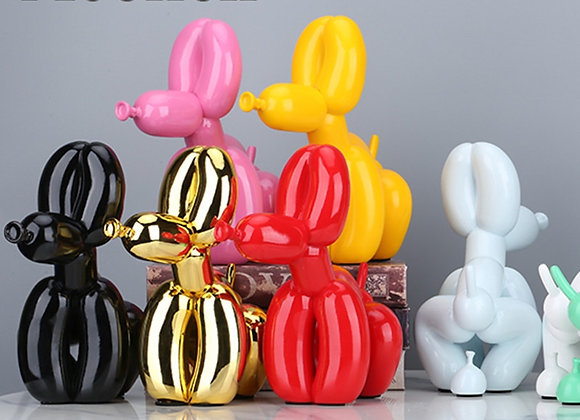 Squat Balloon Dog Statue Resin Sculpture Home Decor Modern