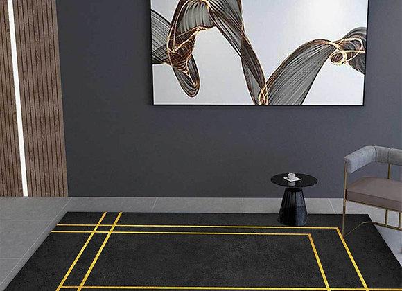 Nordic Style Luxury Black Carpet With Golden Line Geometric Carpet