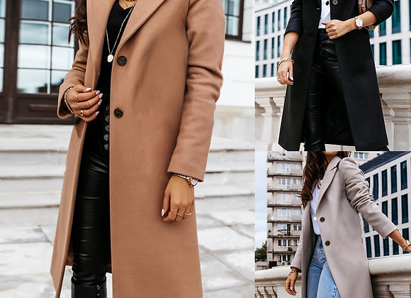 Women Trench Coat Fashion Fall Winter Casual Vintage Long Coats Overcoat