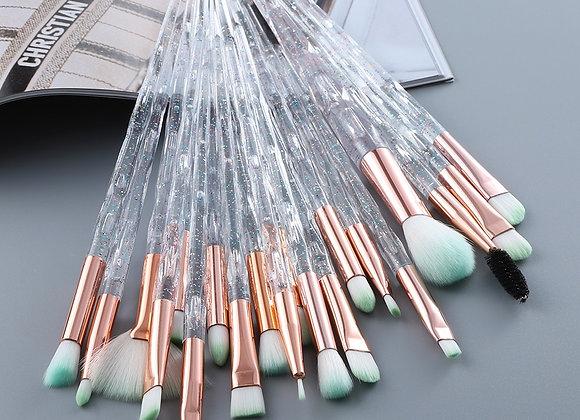 20pcs Fan Eye Bling Makeup Brushes Set