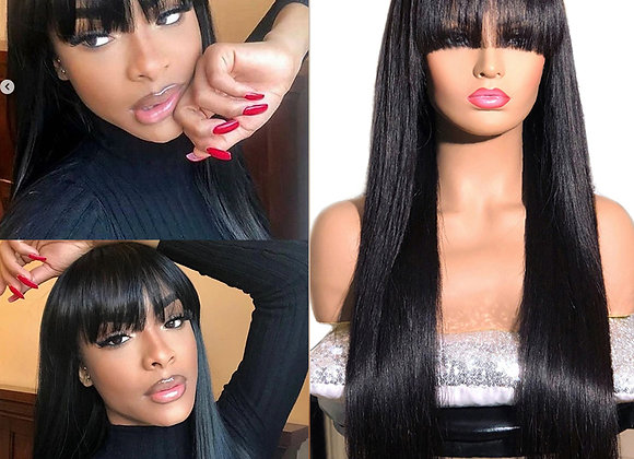 Mstoxic Straight Human Hair Wig With Bangs Full Machine