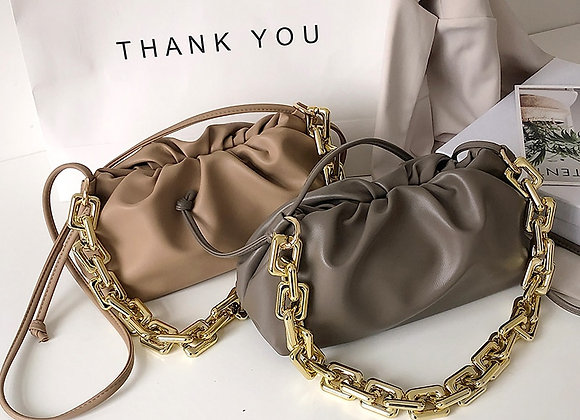 Gold Chain Leather Cloud Bag for Women 2020