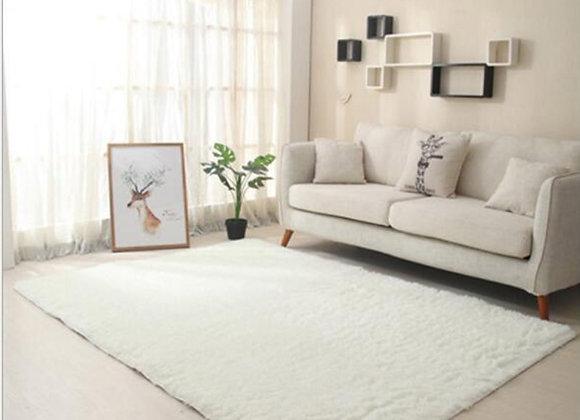 Shaggy Rugs Thick Silky Carpet Modern Non-Slip Floor Mat White