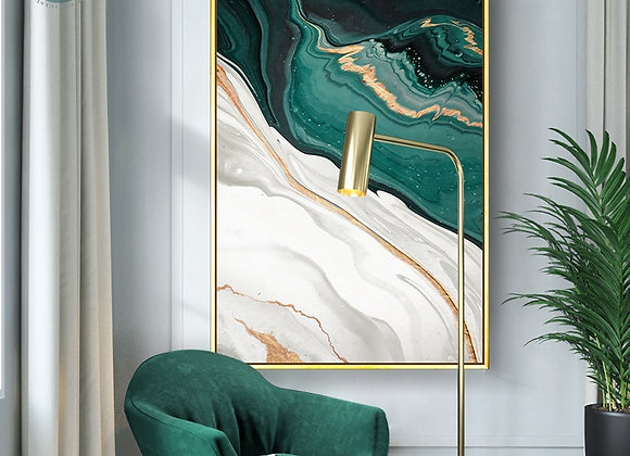 Modern Abstract Gold Foil Lines Green Canvas Art Paintings