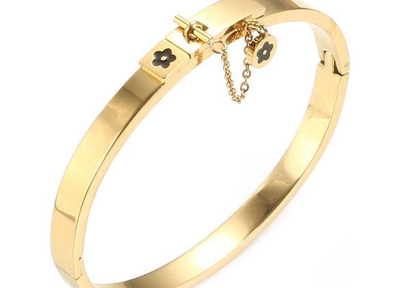 Gold Love Flower Charm Bangle Link Chain  Flower Closure Bracelet