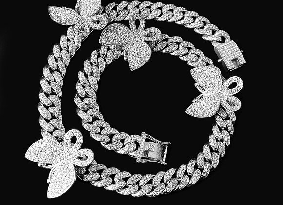 12mm Iced Out Bling Cz Miami Cuban Link Chain Butterfly Charm Choker Necklace