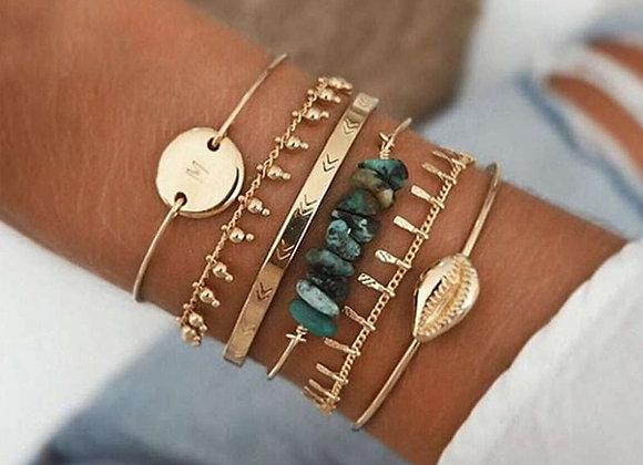 Boho Mixed Geometric Crystal Multi Layer Bracelets