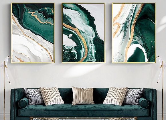 Minimalist Abstract Wall Poster Modern Style Canvas Print Green Texture Painting