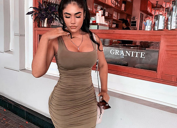 Simenual Ruched Solid Sexy Bodycon Party Dresses Women Fashion Sleeveless