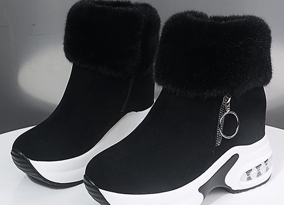 Women Ankle Platform Boots Warm Plush Winter Shoes Height Increasing