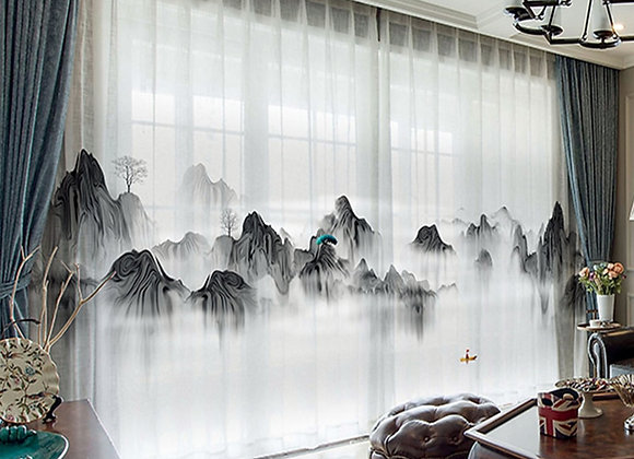 Modern New Chinese Ink Landscape Painting Landscape Curtains