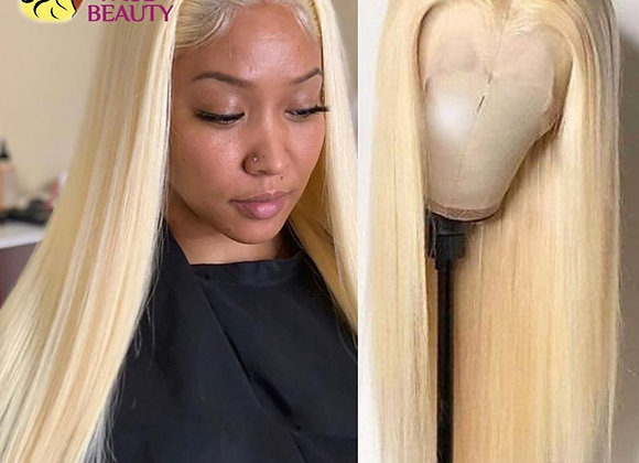Blonde Lace Front Wig Human Hair Peruvian 613 Straight Colored Human Hair