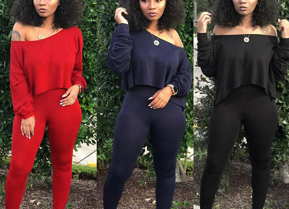 Women Sets 2 Pcs Sweat suit Cotton Summer Pullover