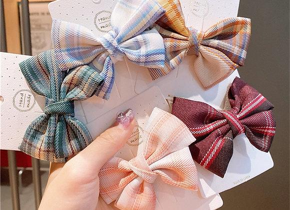 2021 Fashion Elegant Bow Plaid Hairpin Women Girls Kids Hair Clips Barrettes