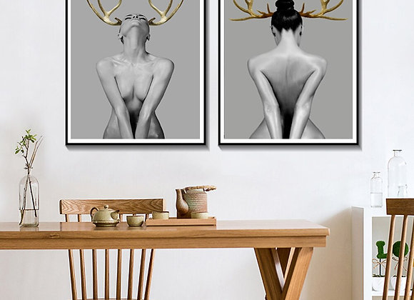 Nordic Modern Canvas Art Posters Nordic Wall Art Painting Antler Girl Portrait