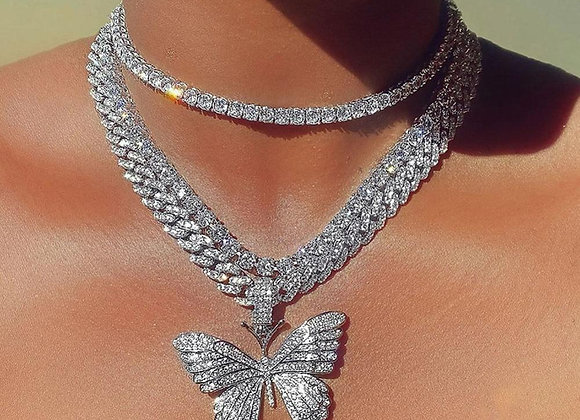 Stonefans Luxury Cuban Link Chain Choker Necklace Butterfly Pendant