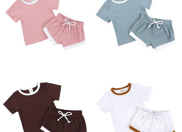 Toddler Girl  Casual Kids Clothes Girls Sets Cotton Short Sleeve Tops