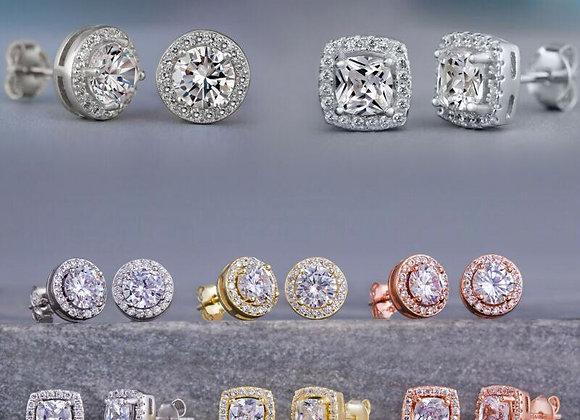 Huitan Fashion Geometric Women Stud Earrings Cubic Zirconia
