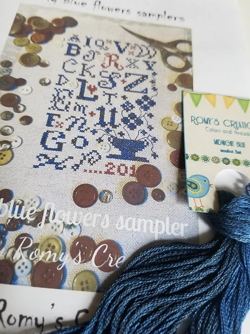 *My Blue Flower Sampler w/ thread - Romy's Creation
