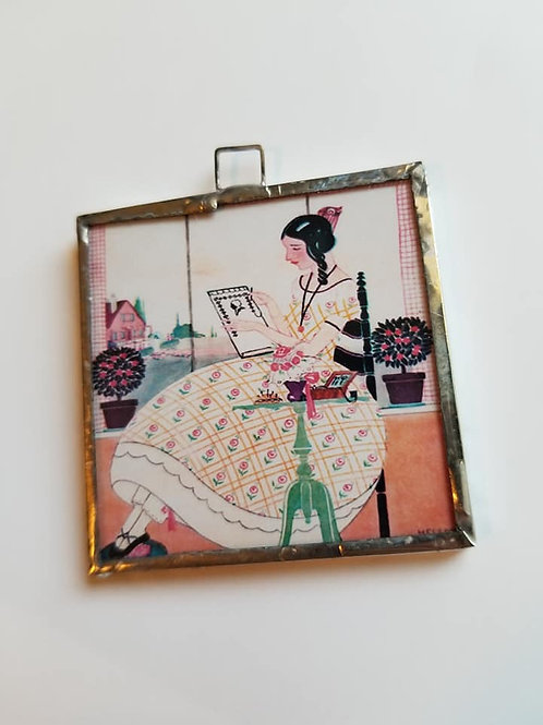 Stitching Girl Pendant