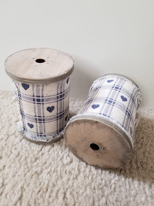 Wooden Spools w/ fabric (Set of 2)