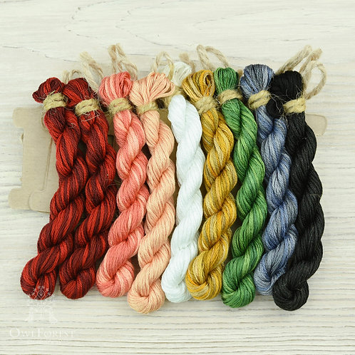 """Hand-Dyed Threads for """"Queen of Hearts"""""""