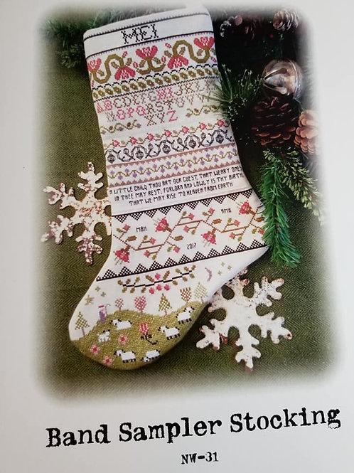 Band Sampler Stocking - Annie Beez Folk Art